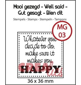 Crealies Crealies clearstamp mooi gezegd Happy CLMG01