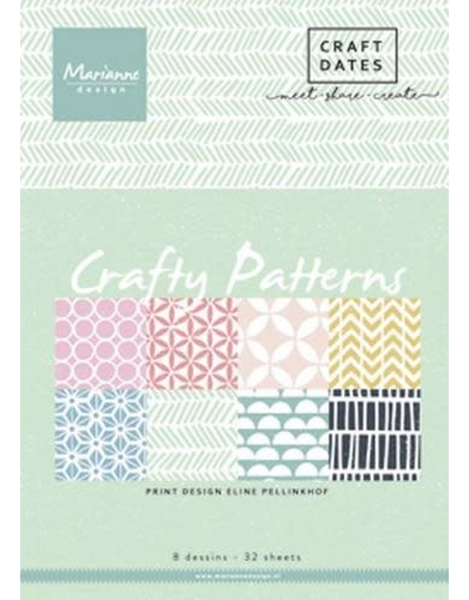 Marianne Design Marianne D Paper pad Crafty Patterns A5 PB7054