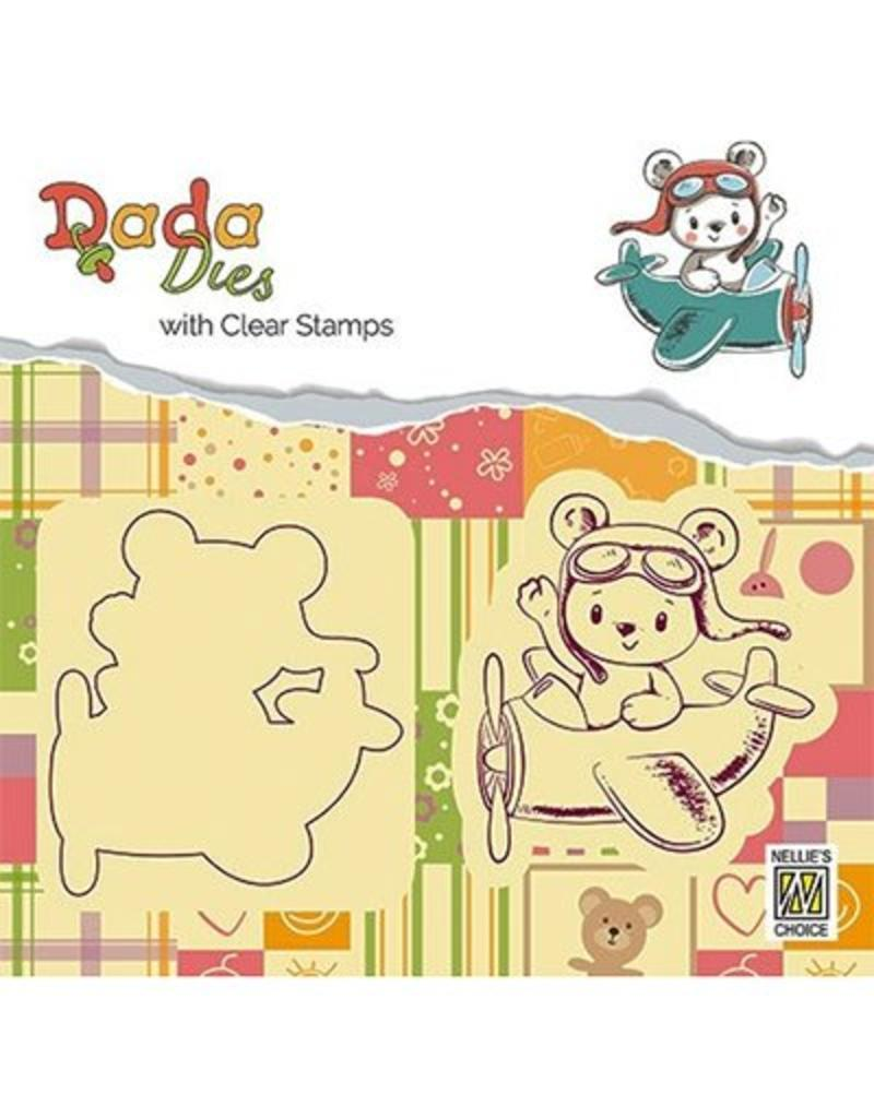 Nellie's Choice Nellie's choice DADA Dies with stamp Bear in airoplane DDCS003