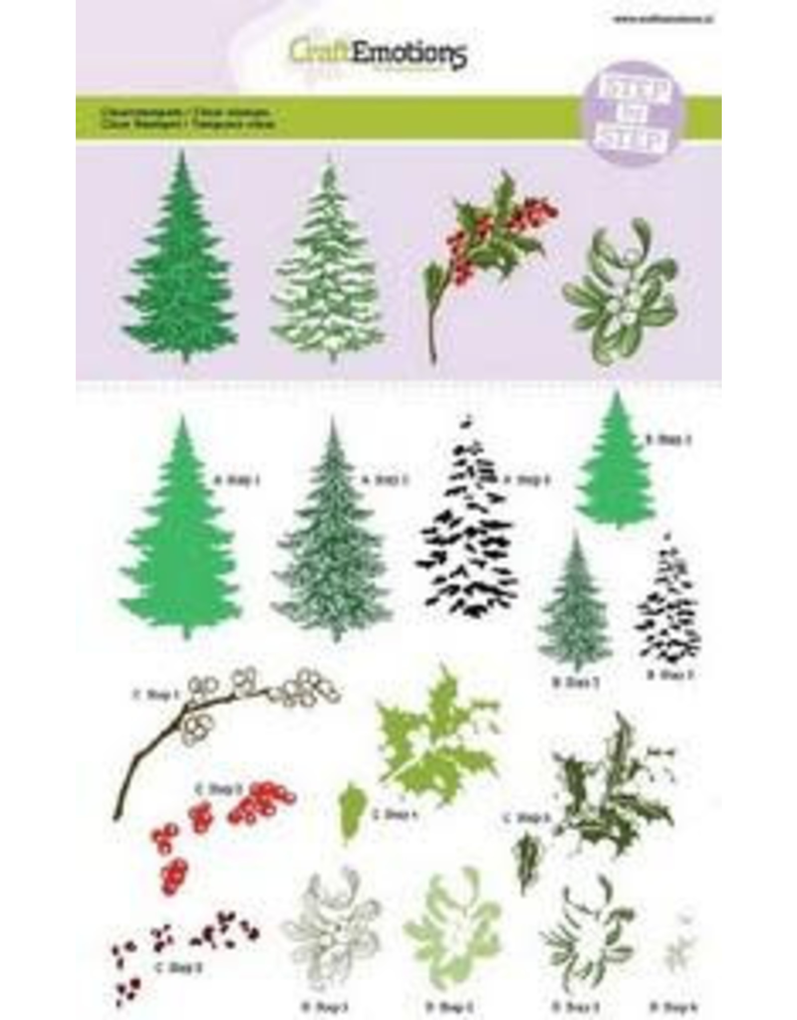 Craft Emotions CraftEmotions Step clearstamps A5 - kerstbomen, takken Christmas Nature