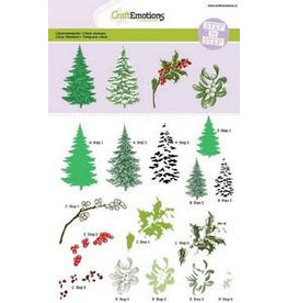 Craft Emotions CraftEmotions Step clearstamps A5 - kerstbomen, takken Christmas Nature