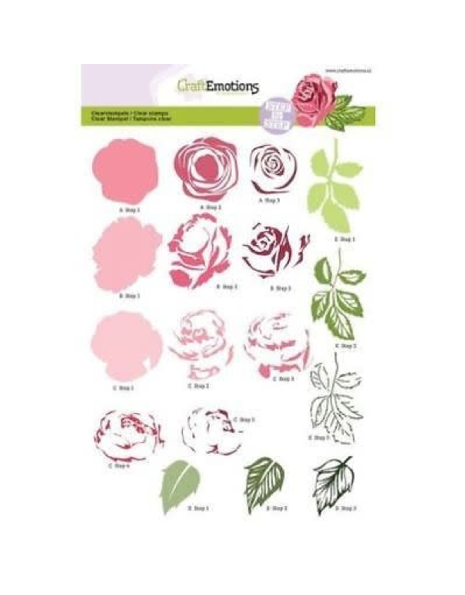 Craft Emotions Craftemotions Layering Clear Stamp Set A5 Rose 130501 / 2003