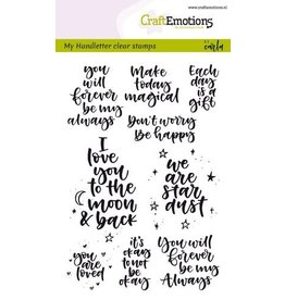 Craft Emotions CraftEmotions clearstamps A6 - handletter - happy feelings (Eng) Carla Kamphui