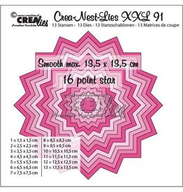 Crealies Crealies Crea-Nest-Lies XXL no 91 gladde 16 puntige ster CLNestXXL91 13,5x13,5 cm