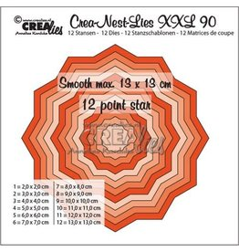 Crealies Crealies Crea-Nest-Lies XXL no 90 gladde 12 puntige ster CLNestXXL90 13x13 cm