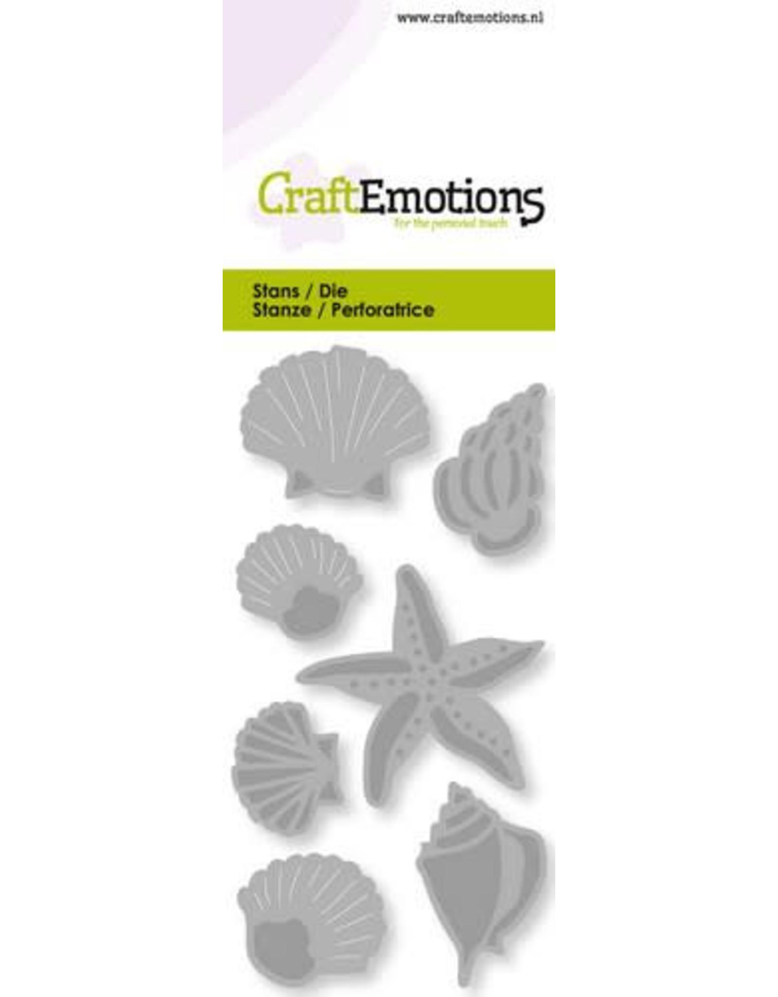 Craft Emotions CraftEmotions Die - schelpen en zeester Card 5x10cm