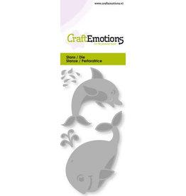 Craft Emotions CraftEmotions Die - dolfijn, walvis Card 5x10cm