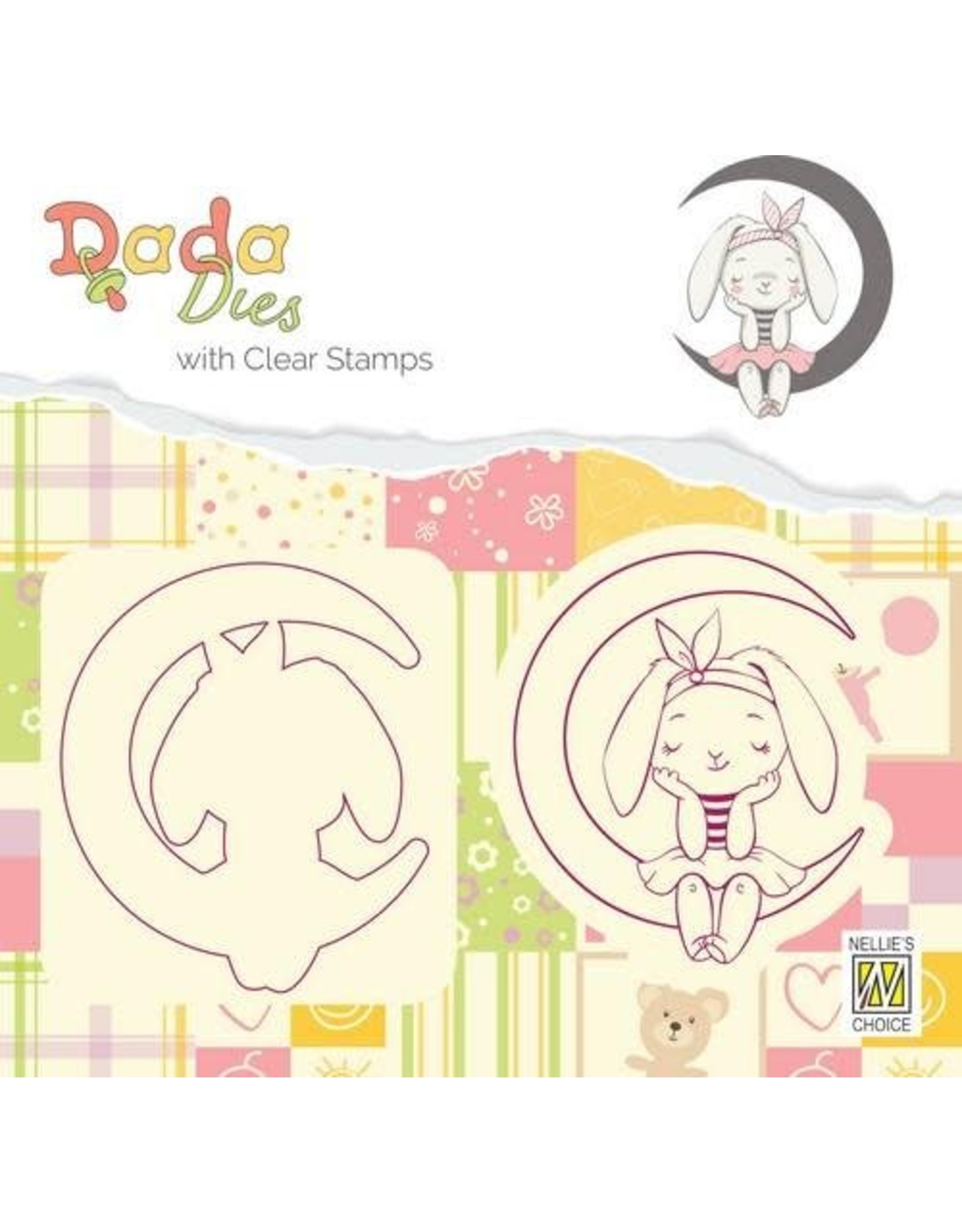 Nellie's Choice Nellies Choice DADA Die with clear stamp konijn op maan DDCS001 46x54 mm