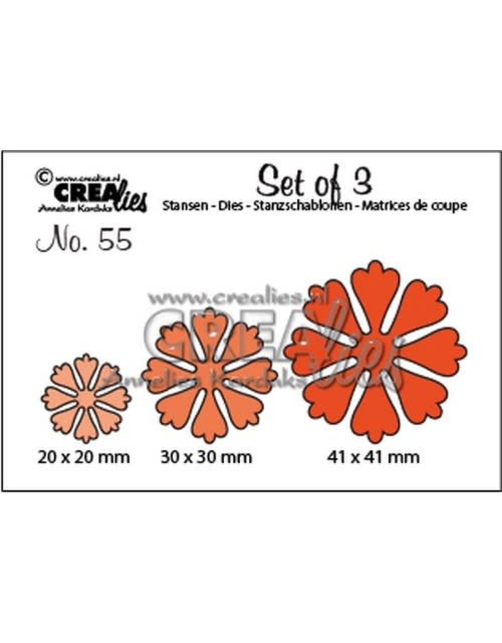 Crealies Crealies Set of 3 no. 55 Bloemen 24 CLSet55 20x20 mm - 41x41 mm