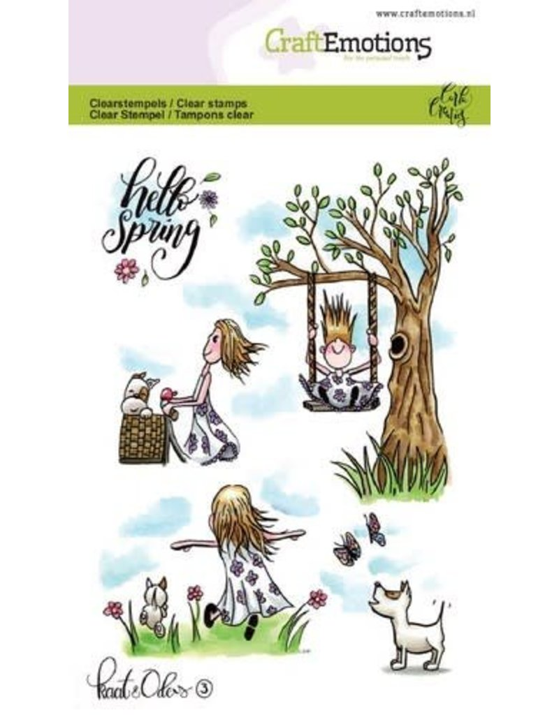 Craft Emotions CraftEmotions clearstamps A6 - Kaat en Odey 3 Spring Carla Creaties