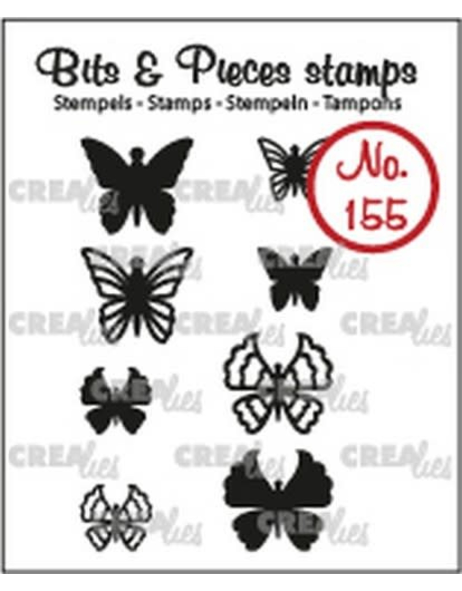 Crealies Crealies Clearstamp Bits & Pieces 8x Mini Vlinders 5 + 6 CLBP155 max. 13x12 mm