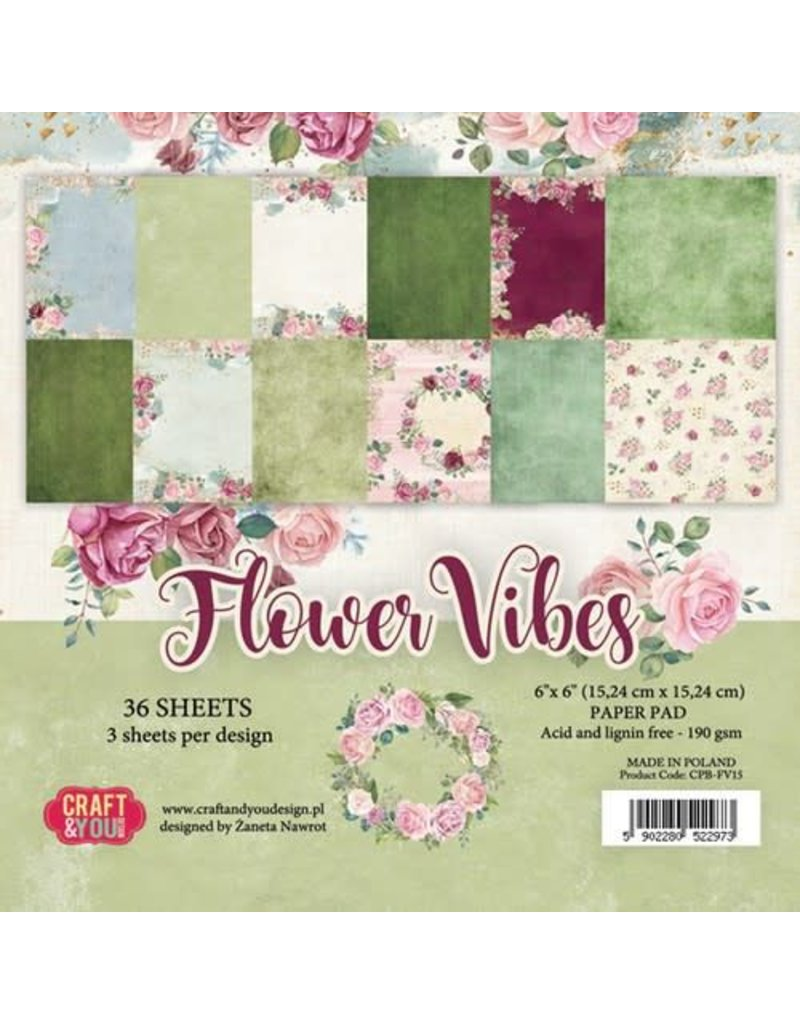 Craft & You Craft&You Flower Vibes small paper pad 6x6 36 vel CPB-FV15