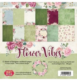 Craft & You Craft&You Flower Vibes big paper set 12x12 12 vel CPS-FV30