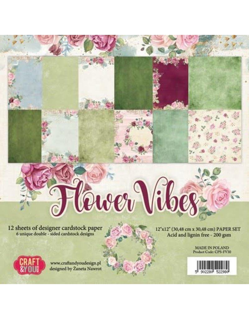 Craft & You Craft&You Flower Vibes big paper set 12x12 12 vel CPS-FV30