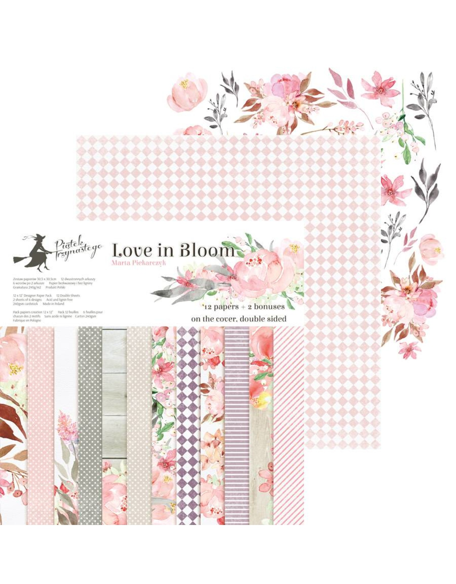 "Piatek Piatek Paper pad Love in Bloom, 12x12""  (30,5 x 30,5)"