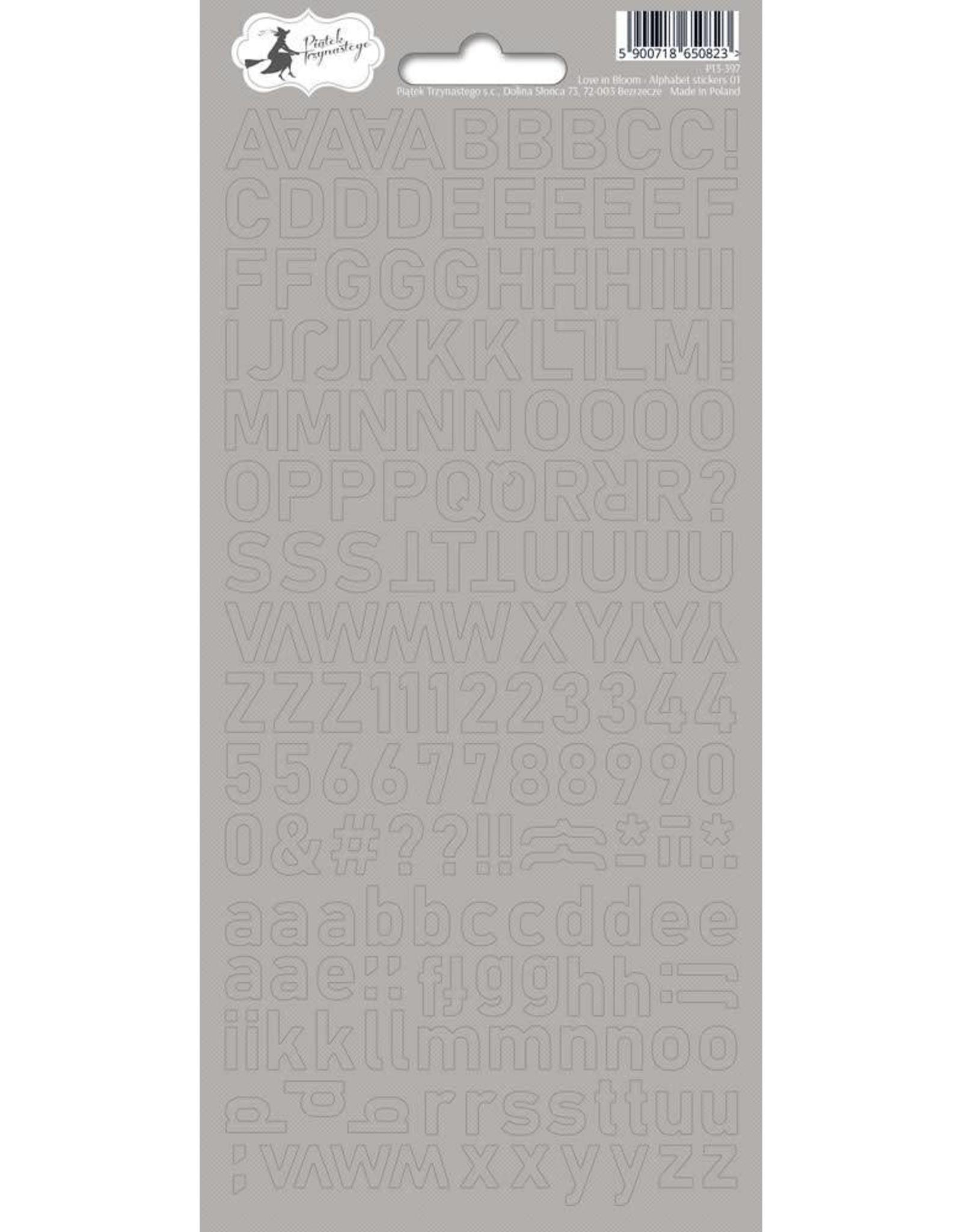 Piatek Piatek Alphabet sticker sheet Love in bloom 01