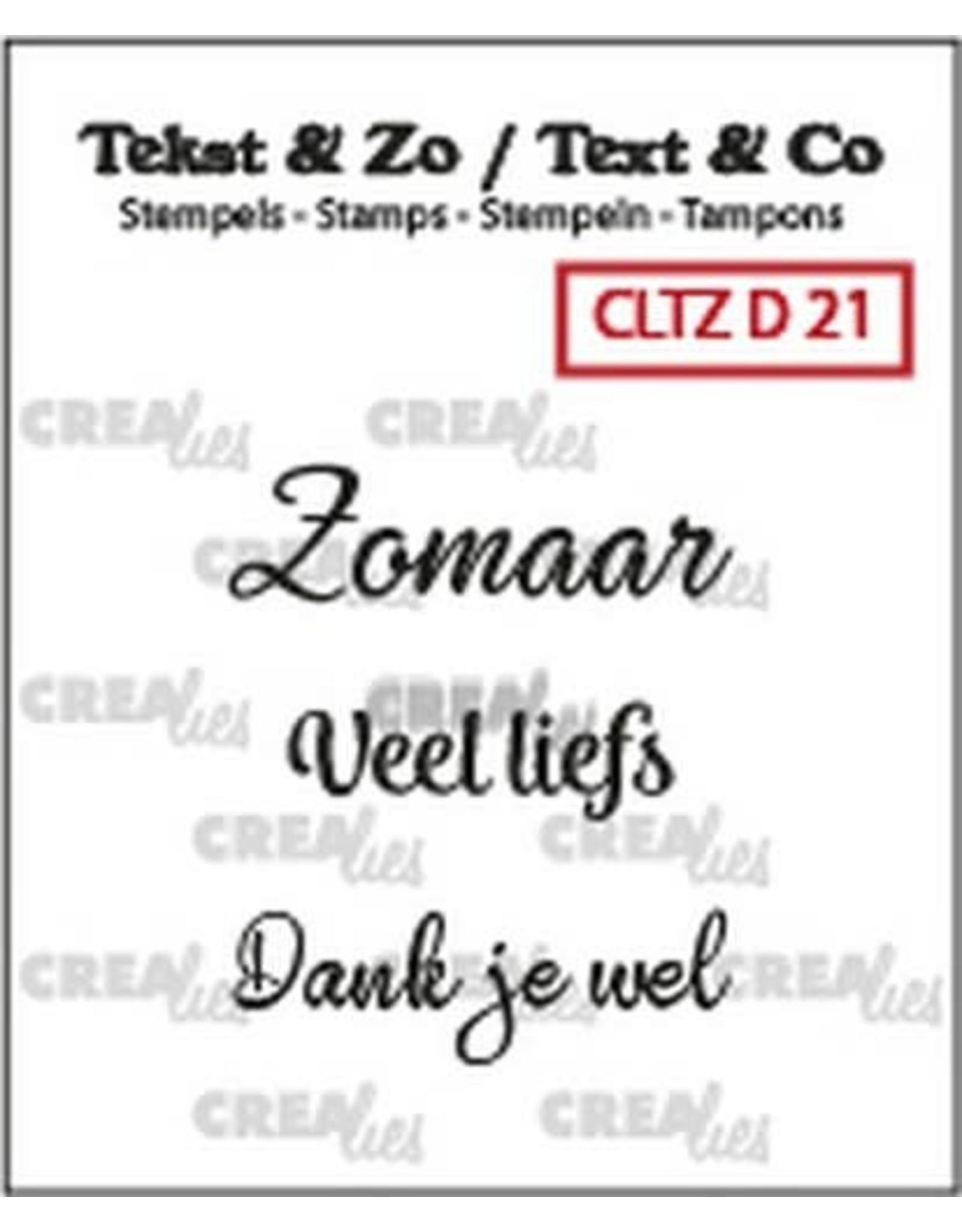 Crealies Crealies Clearstamp Tekst&Zo 3x Divers 21
