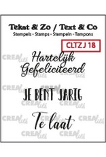 Crealies Crealies Clearstamp Tekst&Zo 3x Jarig 18