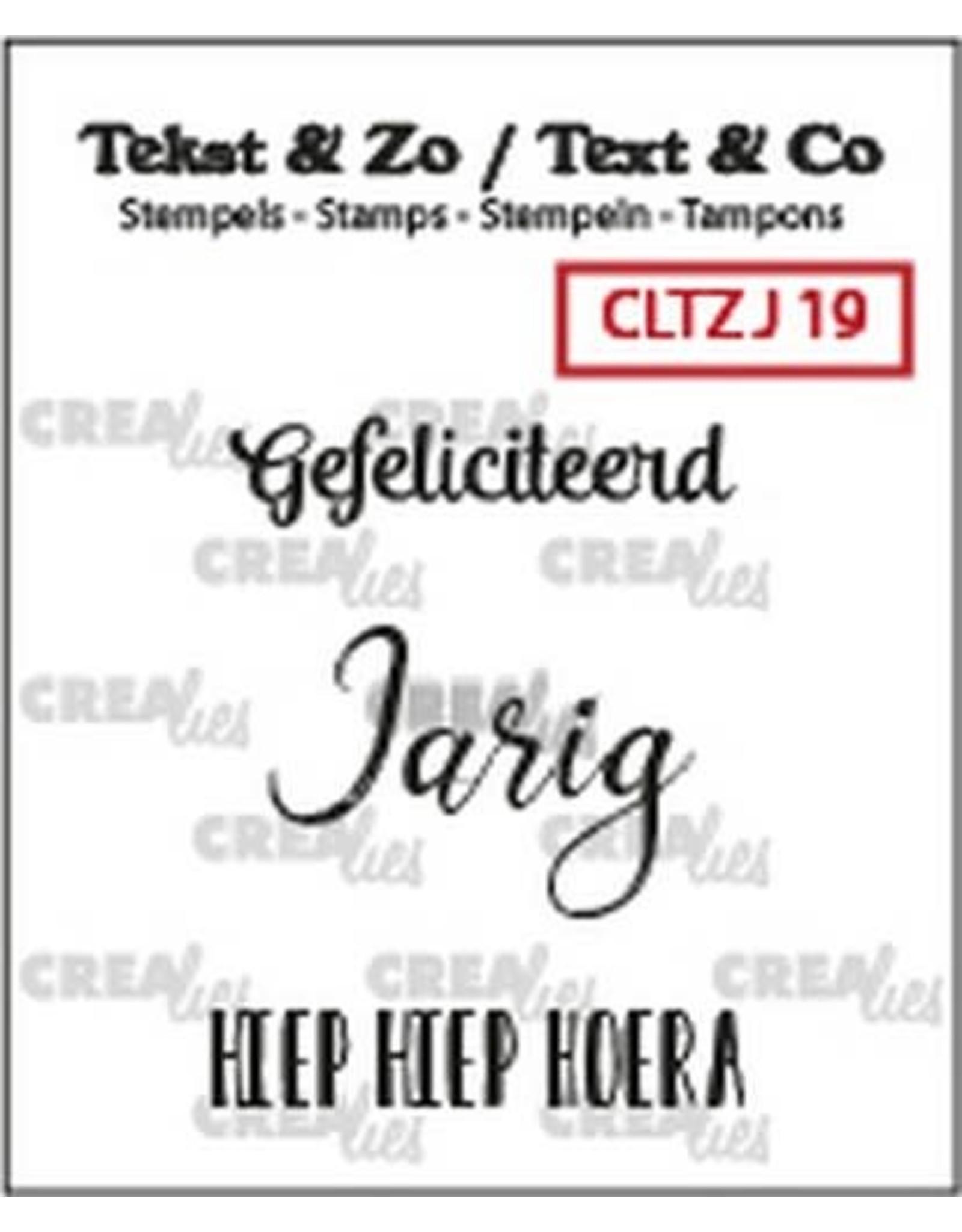 Crealies Crealies Clearstamp Tekst&Zo 3x Jarig 19