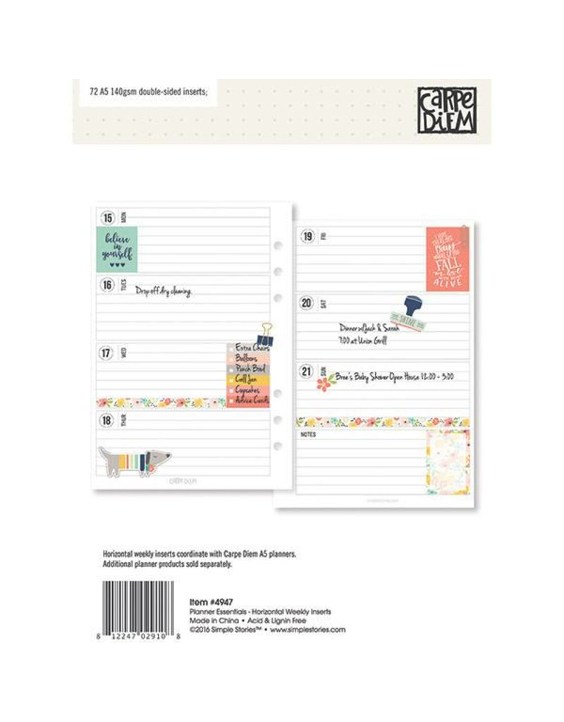 Carpe Diem Carpe Diem Planner Essentials A5 Horizontal Format Weekly Inserts