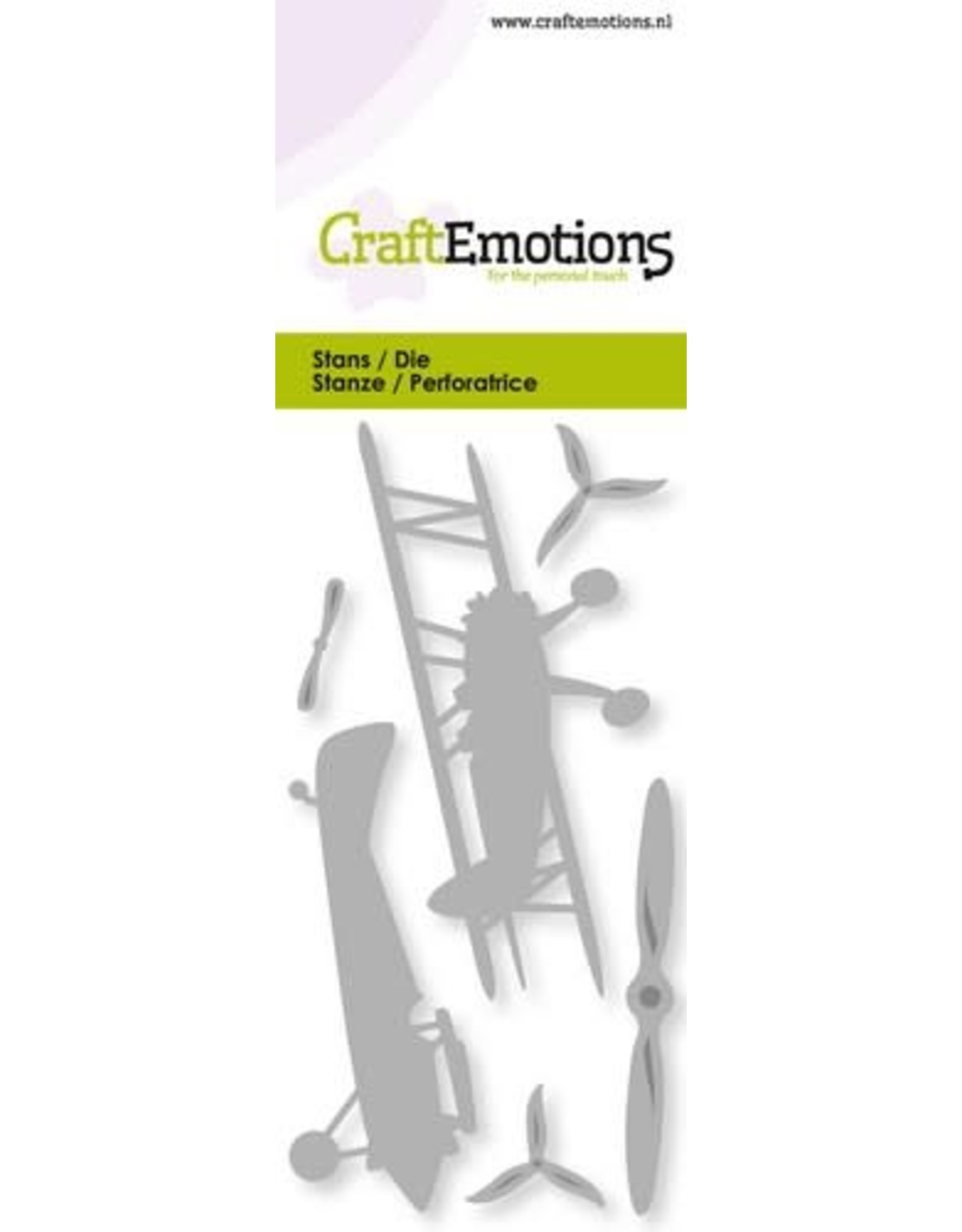 Craft Emotions CraftEmotions Die - vliegtuig - dubbeldekker Card 5x10cm