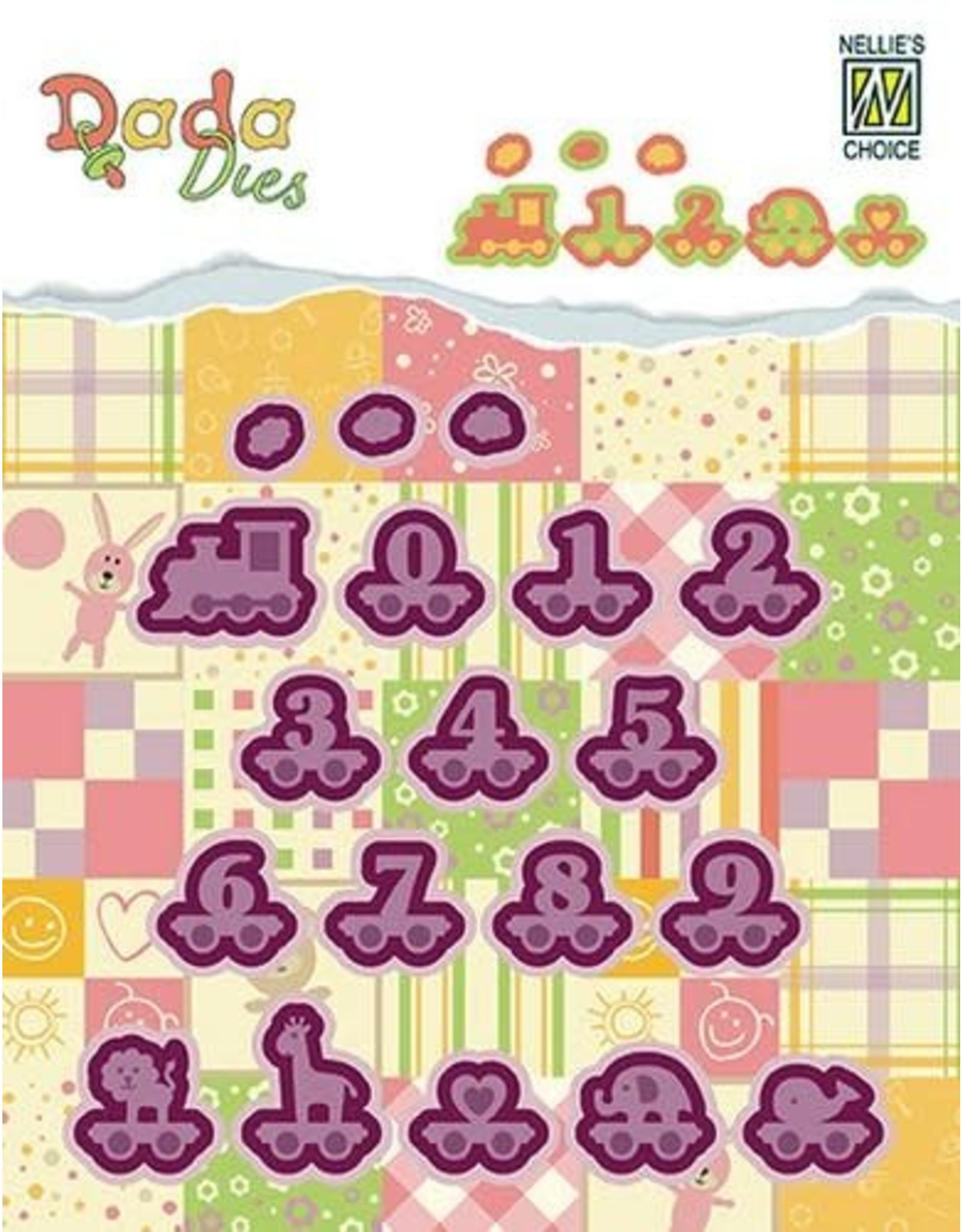 Nellie's Choice Nellies Choice DADA Baby Die - alphabet train numbers DDD006 20mm high/pcs