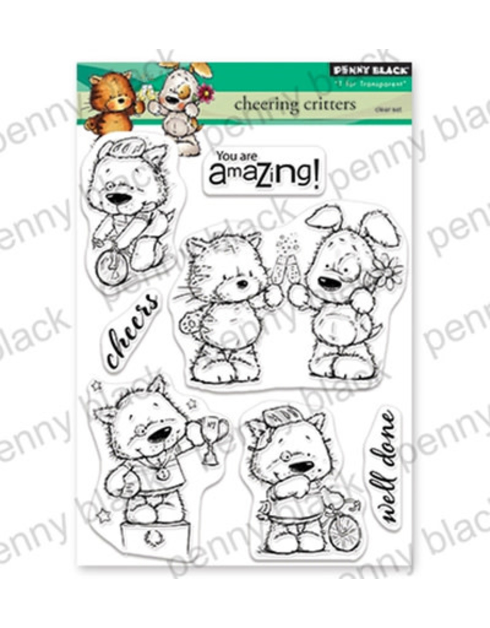 penny black Penny Black Transparant stamp set Cheering critters 30-549