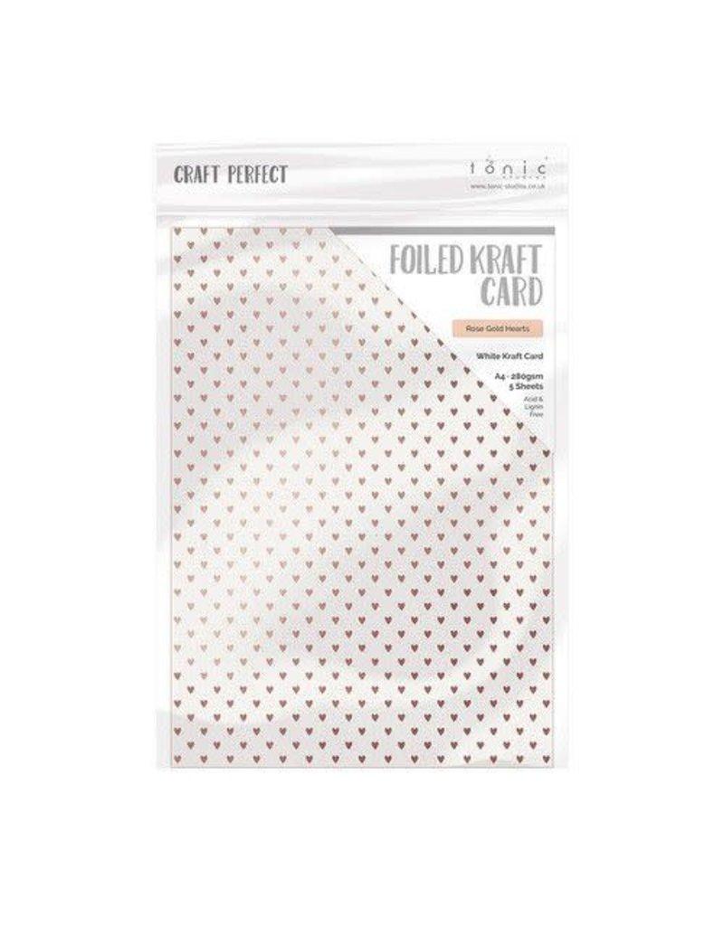 Tonic Studios Tonic Studios Craft P. Foiled K.Card - Rose Gold Hearts 5 vl 9346E A4 280GR