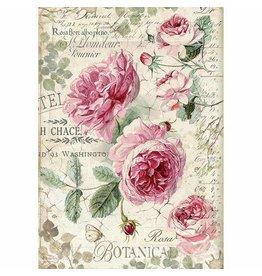 Stamperia Stamperia Rice Paper A4 Botanic English Roses (DFSA4358)