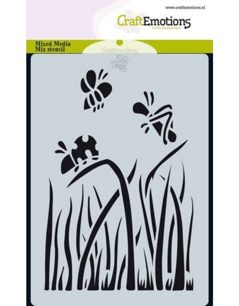 Craft Emotions CraftEmotions Mask stencil Bugs - gras A6 Carla Creaties