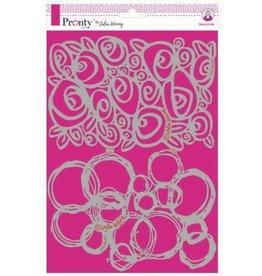 Pronty Pronty Stencil Roses & grunge circles 470.765.015 A4 Julia Woning