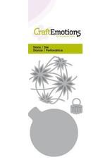 Craft Emotions CraftEmotions Die - kerstbal rond met sterren Card 5x10cm - 4,5x6cm