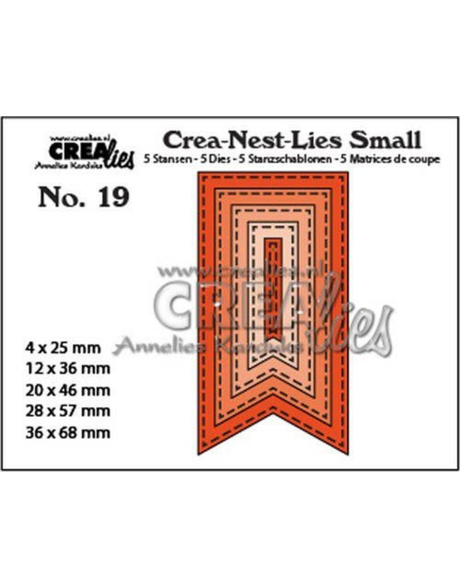 Crealies Crealies Crea-nest-Lies Small Vaandels met stiklijnen (5x) CNLS19 / max. 36 x 68 mm