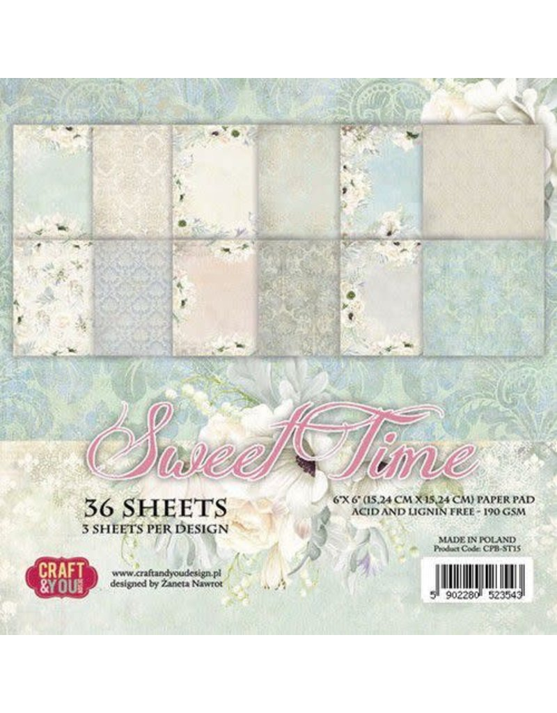 Craft & You Craft&You Sweet Time Small Paper Pad 6x6 36 vel CPB-ST15