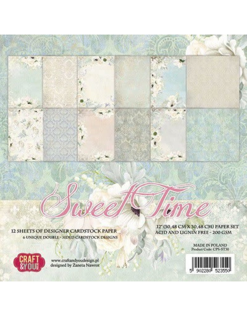 Craft & You Craft&You Sweet Time BIG Paper Set 12x12 12 vel CPS-ST30