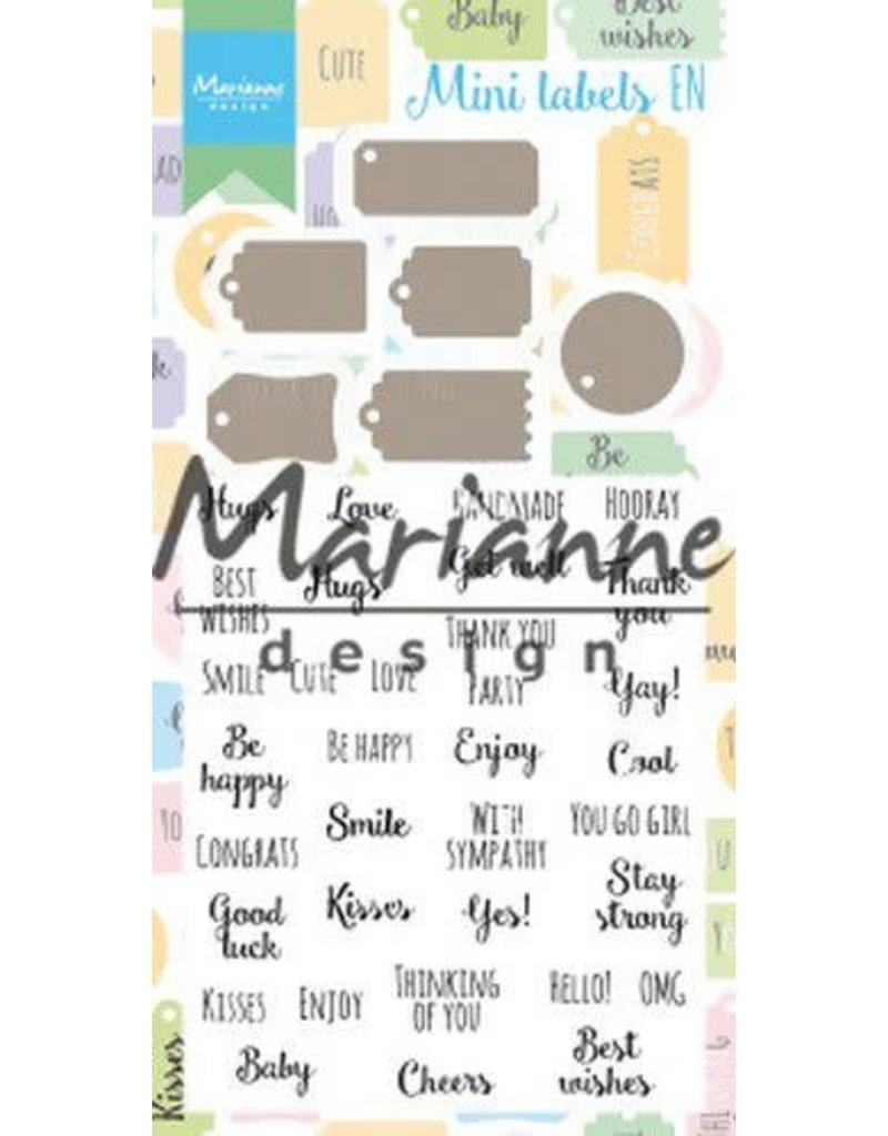 Marianne Design Marianne D Stamp & Die set Mini labels (Eng) CS1029