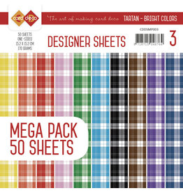 Card Deco Card Deco Designer Sheets Mega Pack 3 - Tartan - Bright Colors CDDSMP003