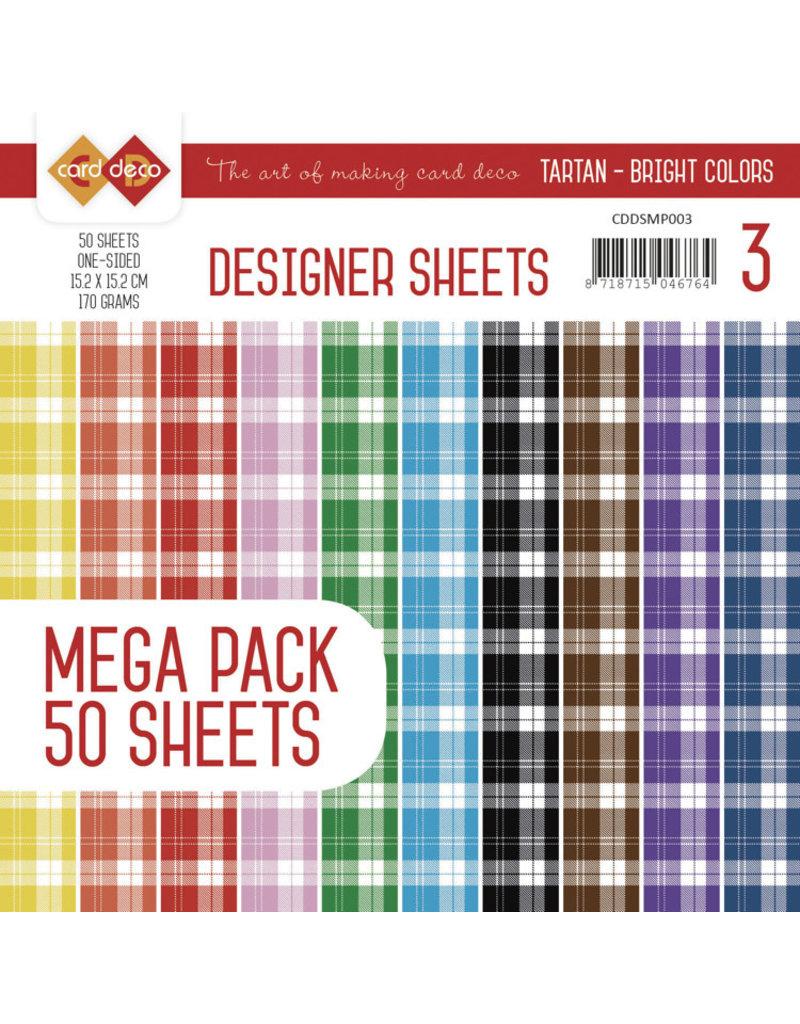 Card Deco Card Deco Designer Sheets Mega Pack 3 - Tartan - Bright Colors CDDSMP003