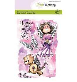 Craft Emotions CraftEmotions clearstamps A6 - Angel & Bear 1 Carla Creaties