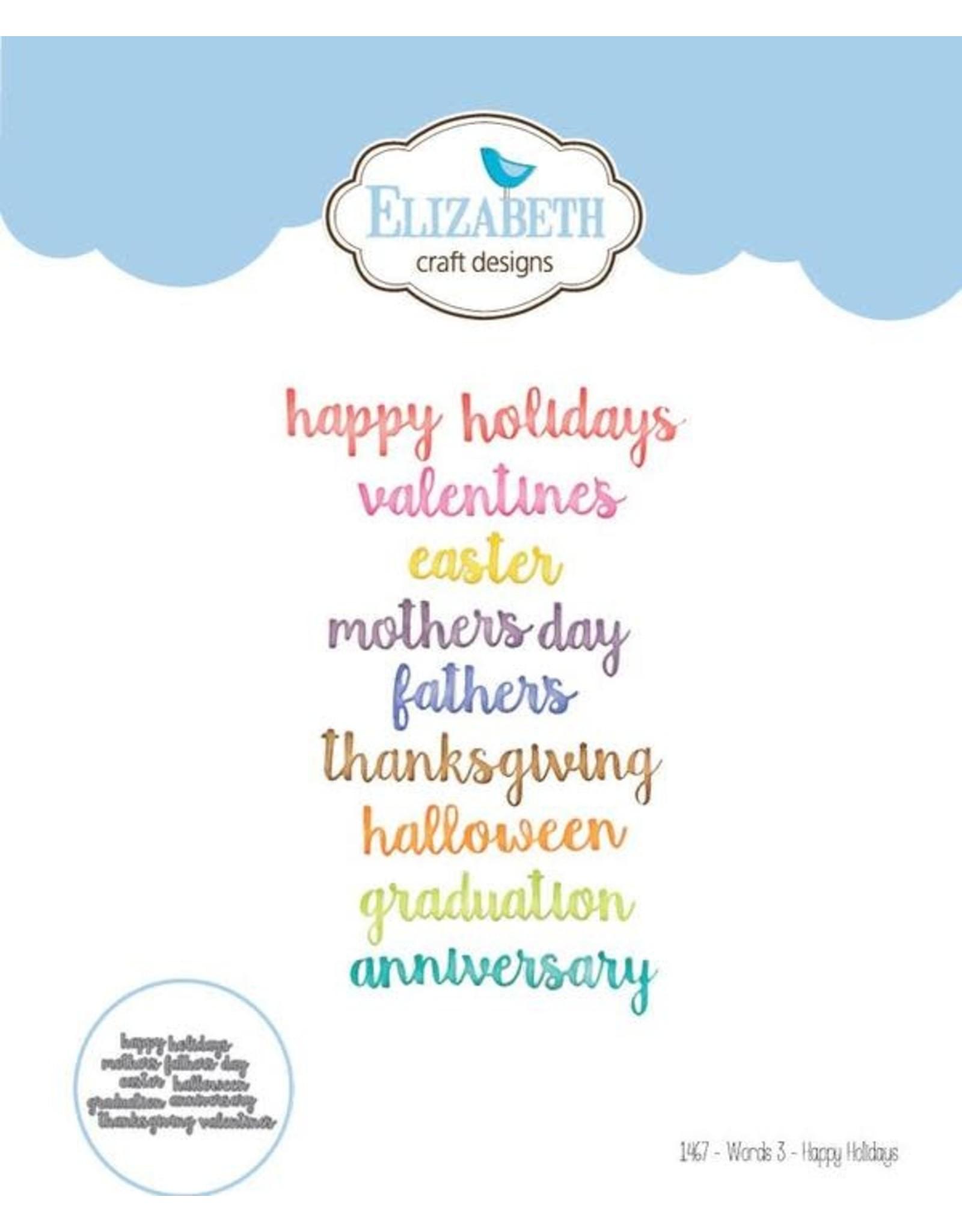 Elizabeth Craft Designs Elizabeth Craft Designs dies Die set - Words 3 - Happy Holidays 1467