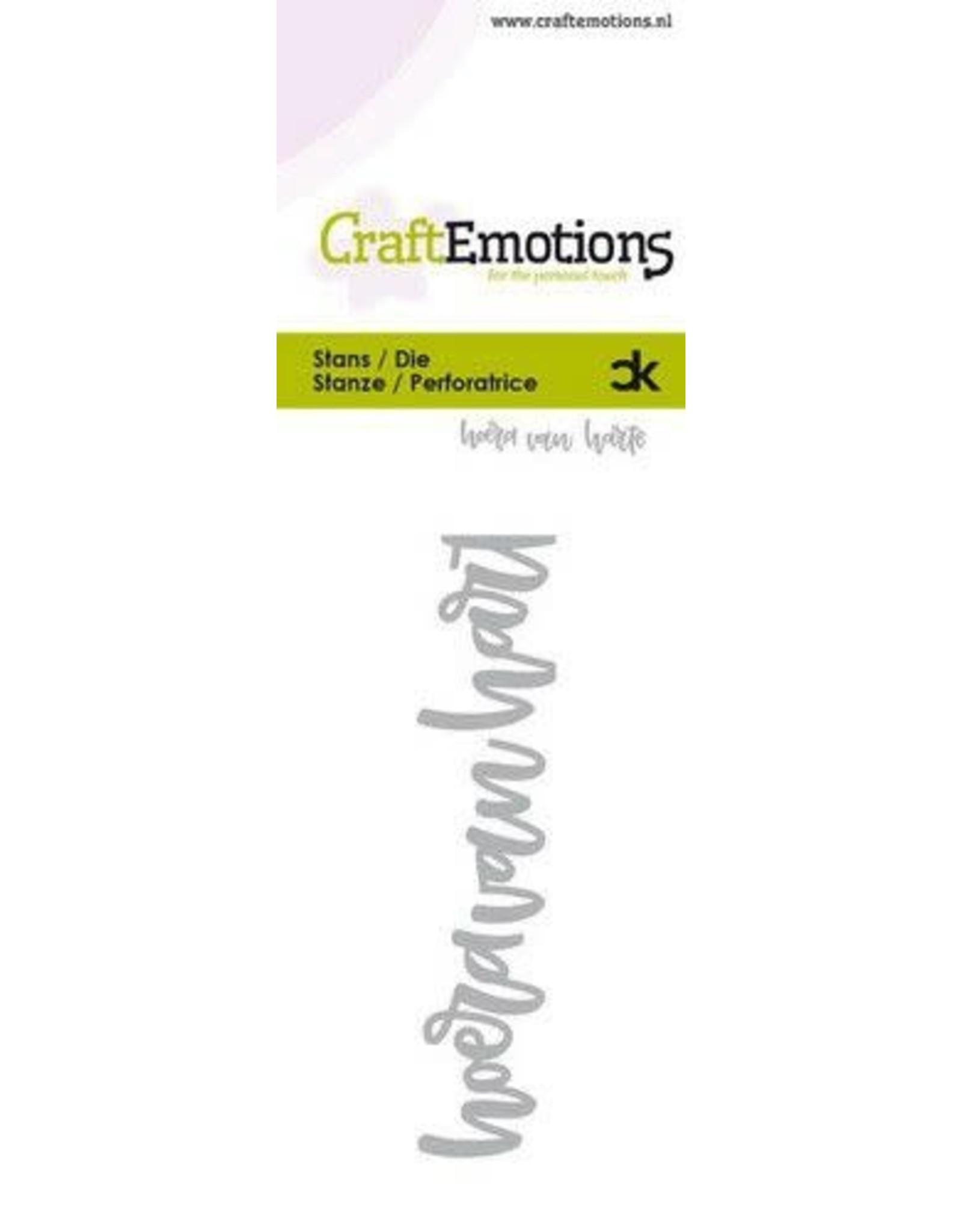 Craft Emotions CraftEmotions Die Handletter - hoera van harte (NL) Card 5x10cm Carla Kamphuis