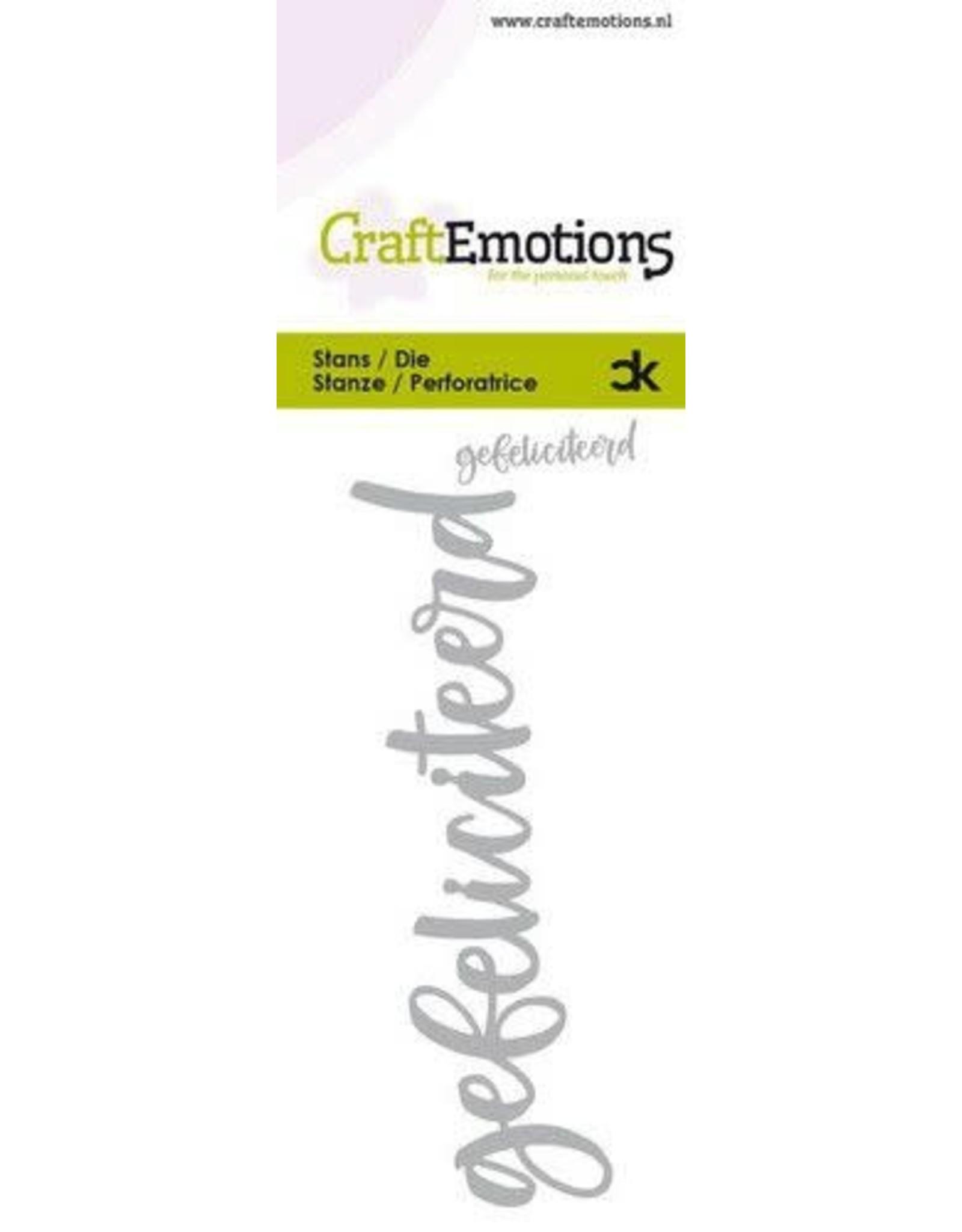 Craft Emotions CraftEmotions Die Handletter - gefeliciteerd (NL) Card 5x10cm Carla Kamphuis