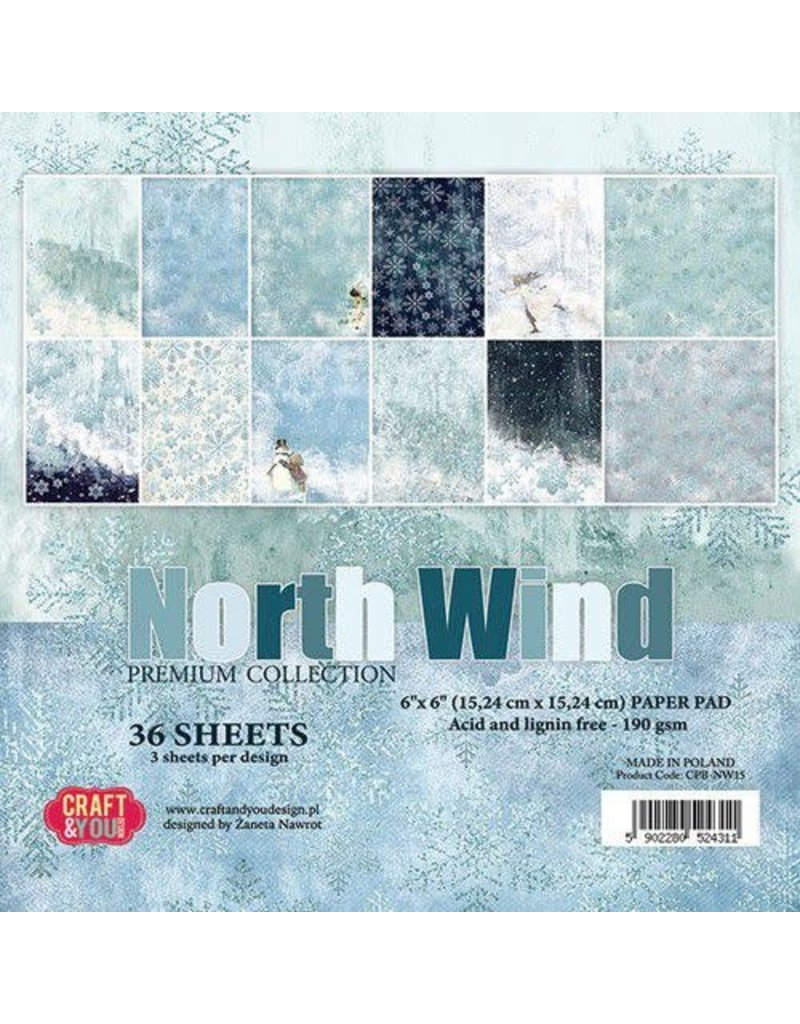 Craft & You Craft&You North Wind Small Paper Pad 6x6 36 vel CPB-NW15