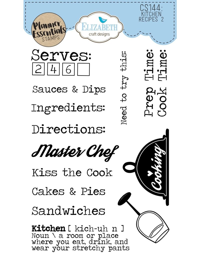 Elizabeth Craft Designs Elizabeth Craft Designs PLanner essentials stamps Kitchen recipes 2 CS144