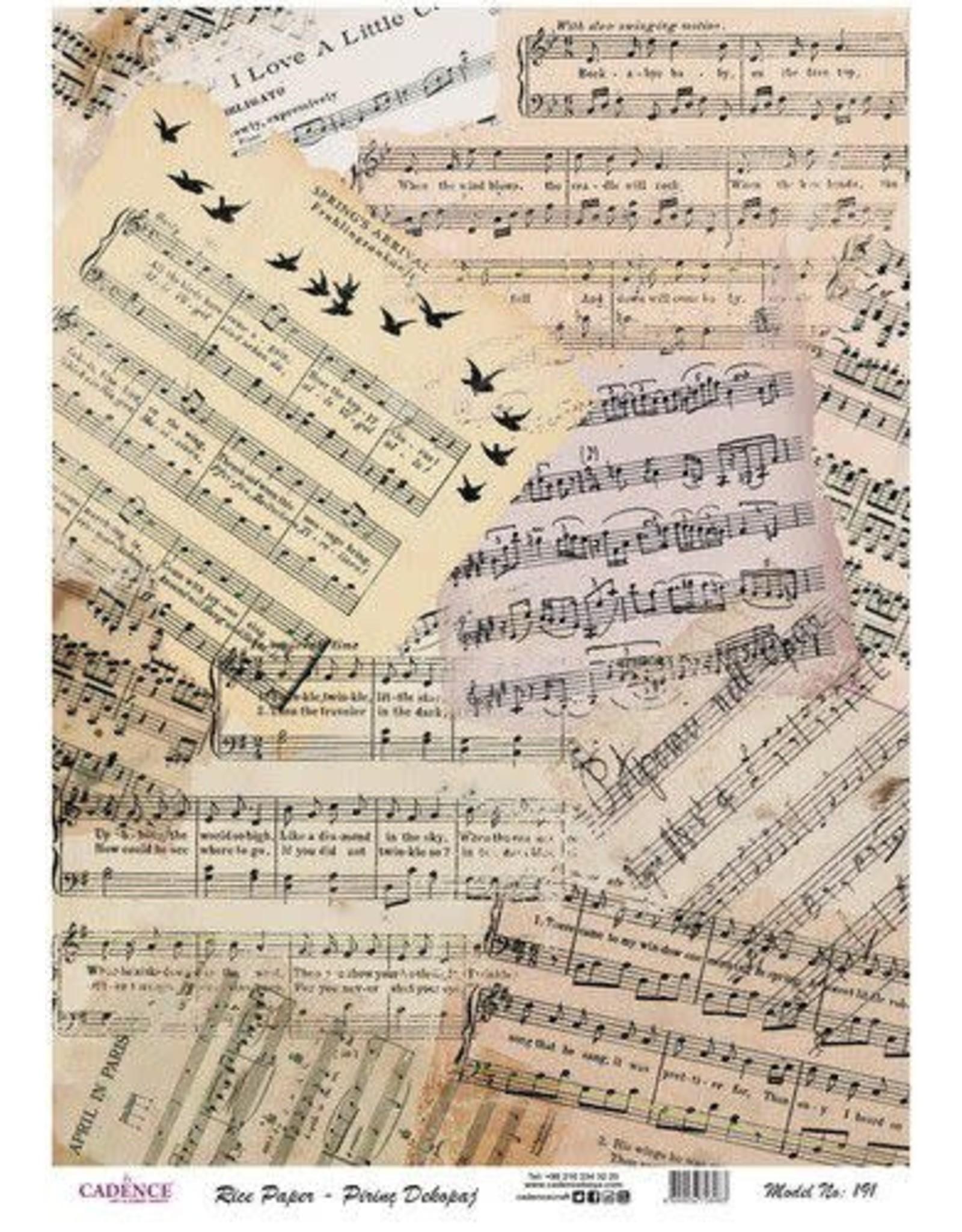 Cadence Cadence rijstpapier vintage stukken bladmuziek Model No: 191