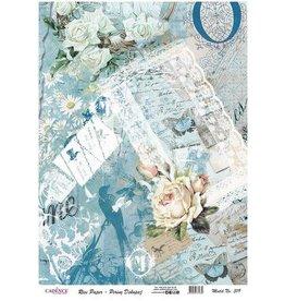 Cadence Cadence rijstpapier Vintage rozen - post - blauw Model No: 319
