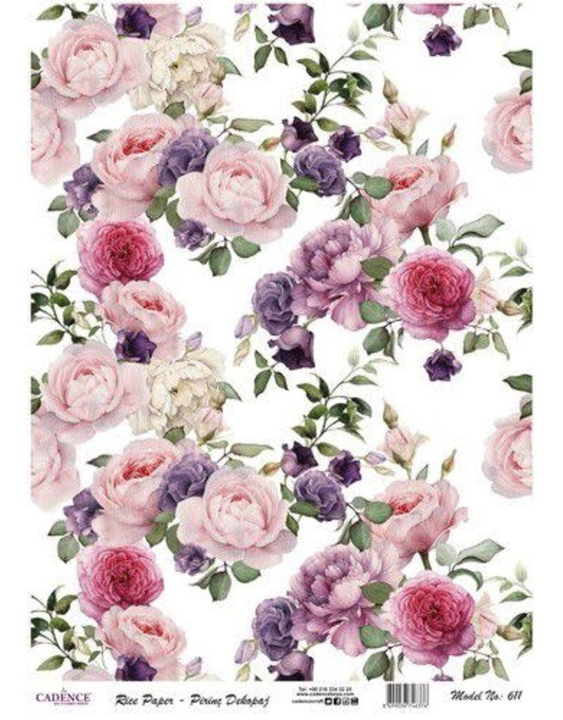 Cadence Cadence rijstpapier vintage rozen roze en lila Model No: 611
