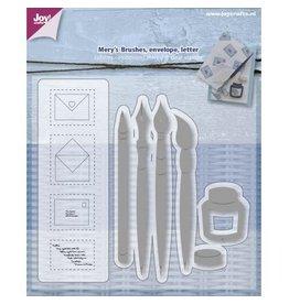 Joy Craft Joy Crafts Snij-embosstencil + stempel - Penseel/Pen/enveloppen/brief 6004/0012