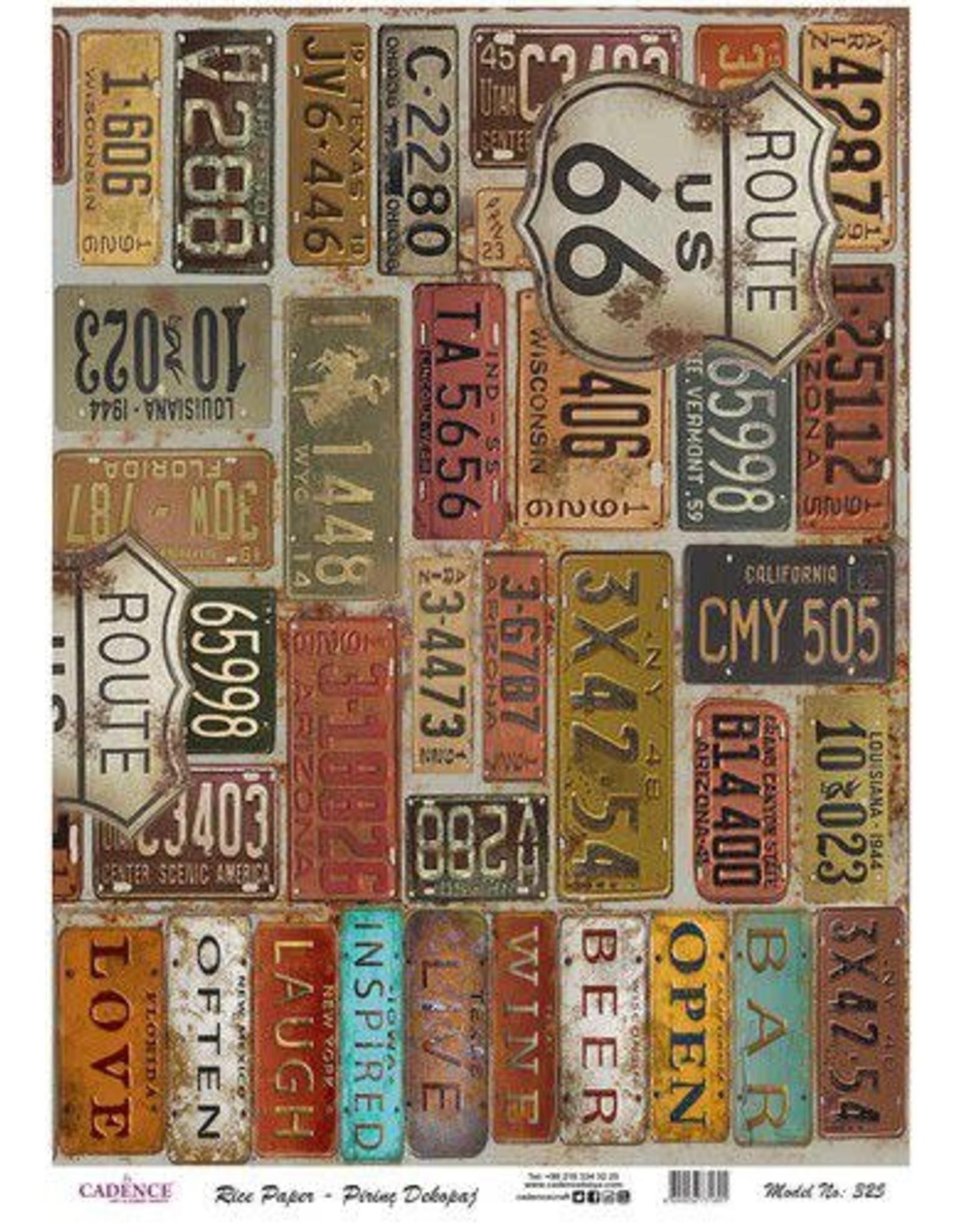 Cadence Cadence rijstpapier kentekenplaten USA Model No: 325