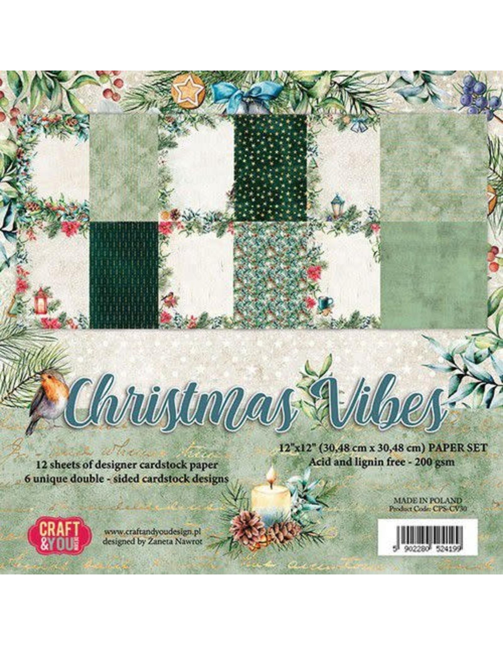 Craft & You Craft&You Christmas Vibes BIG Paper Set 12x12 12 vel CPS-CV30